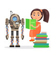 girl sits on pile of books and reads beside robot vector image vector image