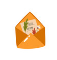 hand drawn of an envelope with leaves vector image