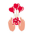 hand with jar and hearts isolated icon vector image vector image