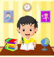 happy kid studying vector image vector image