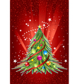 Happy new year card with colorful christmas tree vector image vector image