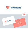 heart logotype with business card template vector image vector image