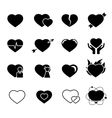 Hearts black icons vector image vector image