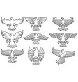 heraldic eagles thin line icons set vector image
