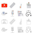 isolated object of pharmacy and hospital icon vector image vector image
