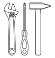 line art black and white simple toolkit set vector image vector image