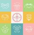 linear gift icons and logos vector image vector image