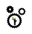 man worker construction gears shovel icon vector image vector image