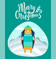 merry christmas greeting card with hedgehog winter vector image vector image