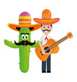 mexican man with cactus and guitar characters vector image