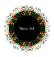 mexican traditional textile embroidery round vector image