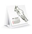 October 2014 desk horse calendar vector image