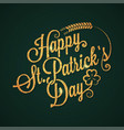 patrick day vintage golden lettering background vector image vector image