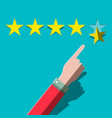quality rating with stars and hand customers vector image vector image