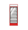 realistic detailed 3d red supermarket freezer vector image vector image