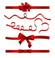 ribbon banner symbol set red bow vector image vector image
