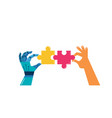 robotic and human hands with two puzzle pieces vector image