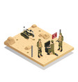 robots sapper isometric composition vector image vector image
