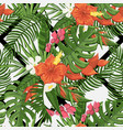 seamless flowers pattern with tropical vector image