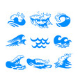 set blue water sea or ocean waves and splashing vector image