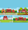 set different farm scenes with animal farm vector image vector image