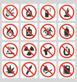 signs prohibited luggage items in airport icon vector image