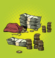 stack of dollars and golden coins vector image vector image