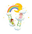 two fairies on clouds on white background vector image vector image
