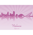 Valencia skyline in purple radiant orchid vector image vector image