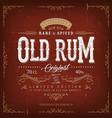 vintage old rum label for bottle vector image vector image