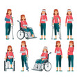 woman with injury broken legs in plaster arm and vector image vector image