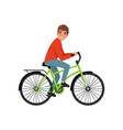 young man cycling his bike active lifestyle vector image vector image