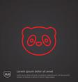 panda outline symbol red on dark background logo vector image