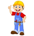 Cartoon handyman with tools belt thumb up vector image