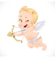 Cute little cupid shoots a bow isolated on a white vector image