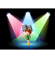 A girl holding a banner with spotlights vector image vector image