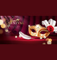 beads and golden mask at mardi gras parade banner vector image vector image