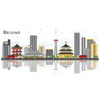 beijing china city skyline with gray buildings vector image vector image