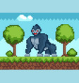 big gorilla in forest in pixel-game animal walks vector image