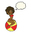 cartoon pin up girl sitting on ball with thought vector image vector image