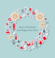 christmas card vintage wreath with xmas icon vector image vector image