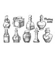 collection of different potion bottles set vector image