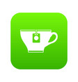 cup with teabag icon digital green vector image vector image