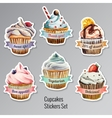 Cupcakes stickers set with different text vector image vector image