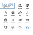 electro cars - line design icons set vector image vector image