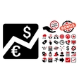 Euro Forex Market Flat Icon with Bonus vector image