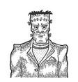 fabulous artificial man sketch engraving vector image vector image
