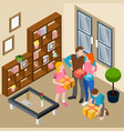 family home celebration isometric vector image