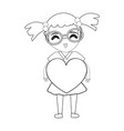figure pretty girl with heart and glasses vector image vector image