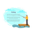 fisherman with fishing rod on platform icon vector image